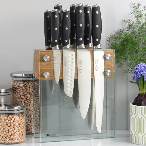 Elite AUS8 Knife Set 8 Piece and Magnetic Glass Block