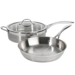 Professional Stainless Steel Saute and Frying Pan Set - 2 Piece Uncoated