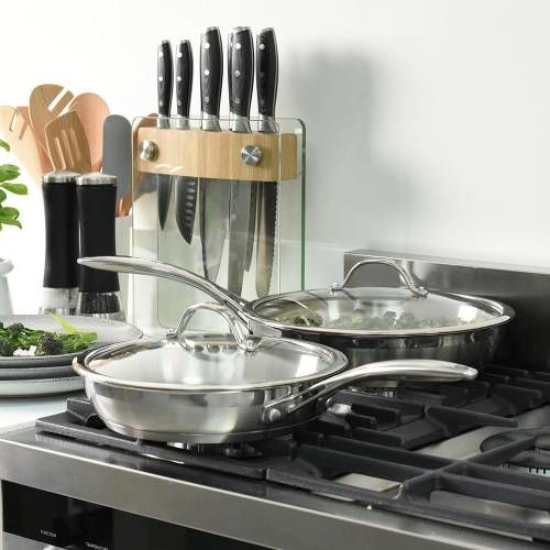 Professional Stainless Steel Frying Pan with Lid Set Uncoated 24cm and 28cm