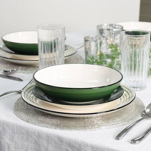 Coastal Stoneware Green Dinner Set with Pasta Bowls 12 Piece - 4 Settings