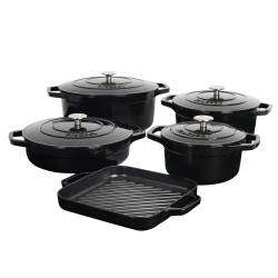 ProCook Cast Iron Casserole Set - 5 Piece Black