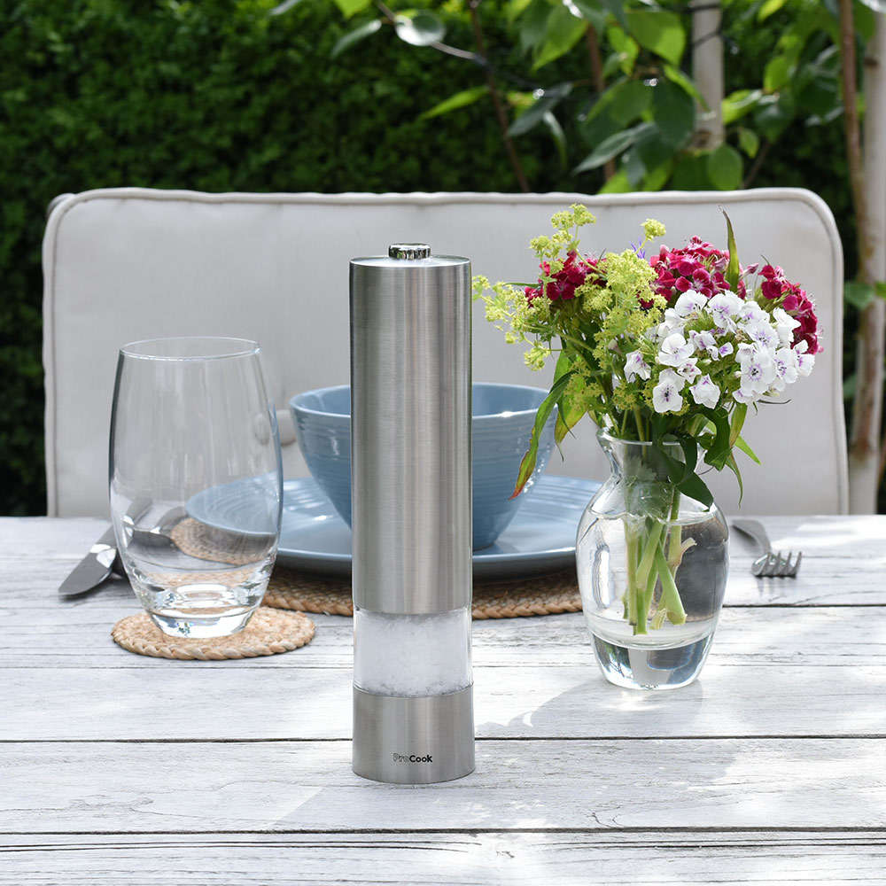 ProCook Electric Stainless Steel Salt or Pepper Mill