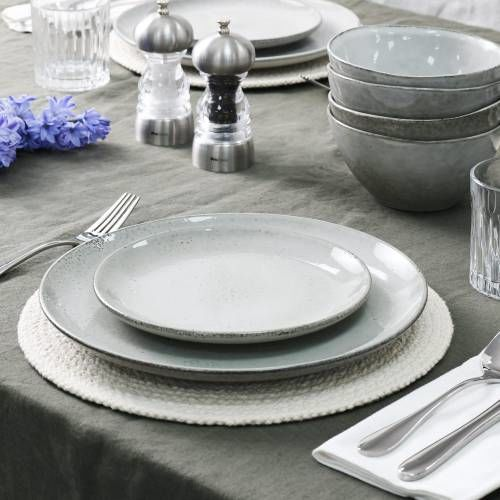 Oslo Coupe Stoneware Dinner Set with Cereal Bowls 12 Piece - 4 Settings