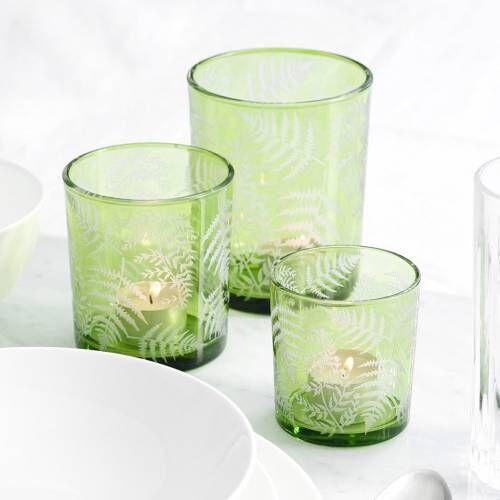 ProCook Green Fern Design Candle Holder Set of 3