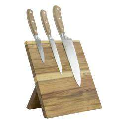 ProCook Acacia 3 Piece Knife Set - With Block