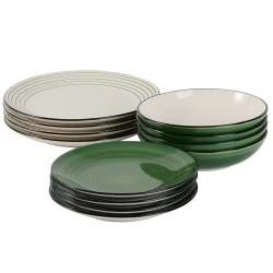 Coastal Stoneware Green Dinner Set with Pasta Bowls - 12 Piece - 4 Settings