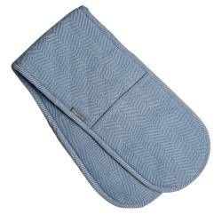 ProCook Double Oven Glove - Blue and Biscuit Herringbone