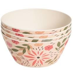 ProCook Bamboo Fibre Flower Design Bowls - Set of 4 - 14.5cm