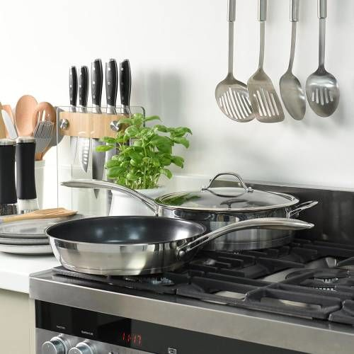 Professional Stainless Steel Saute and Frying Pan Set 2 Piece