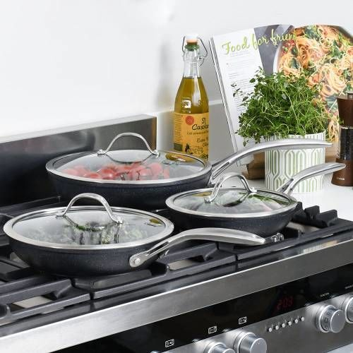 Professional Granite Frying Pan with Lid Set 3 Piece