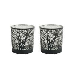 ProCook Etched Silver Tealight Holder Set of 2 - Tree Small