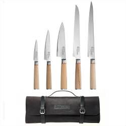 Nihon X50 Knife Set - 5 Piece and Leather Knife Case