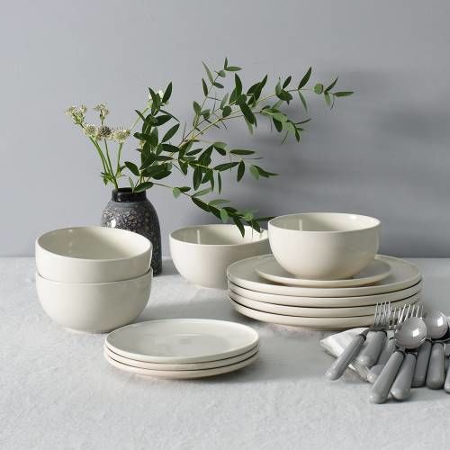Stockholm Ivory Stoneware Dinner Set With Cereal Bowls 12 Piece - 4 Settings
