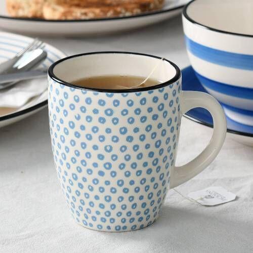 Coastal Stoneware Blue Circle Mug Set of 4 - 360ml