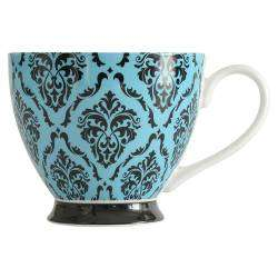 ProCook Footed Mug - Damask Black and Turquoise