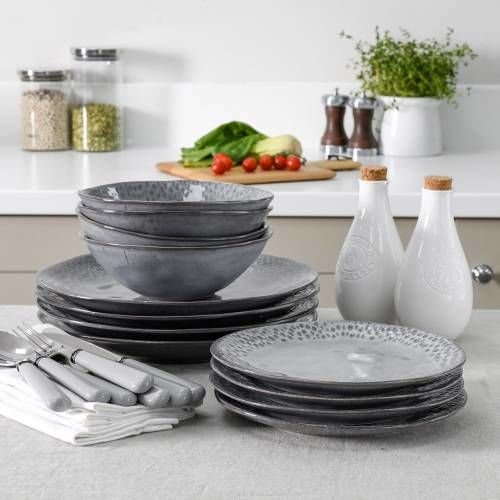 Malmo Charcoal Teardrop Dinner Set with Cereal Bowls 12 Piece - 4 Settings