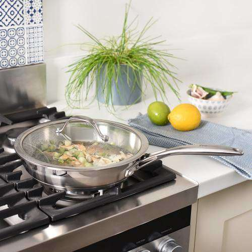 Professional Stainless Steel Frying Pan with Lid Uncoated 24cm