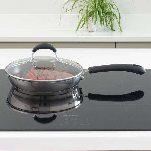 Gourmet Stainless Steel Frying Pan with Lid 20cm