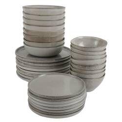 Oslo Rim Stoneware Dinner Set - Two x 16 Piece - 8 Settings