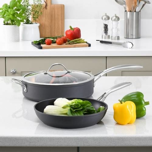 Professional Anodised Saute and Frying Pan Set 2 Piece