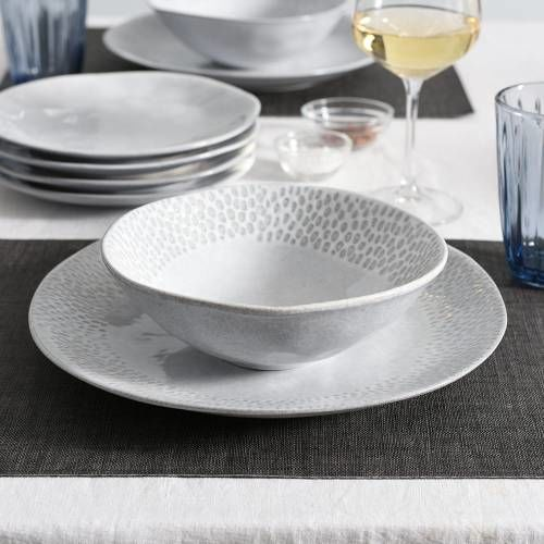 Malmo Dove Grey Mixed Dinner Set with Cereal Bowls 12 Piece - 4 Settings