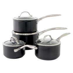 ProCook Professional Ceramic Saucepan Set - 4 Piece with Free Utensils