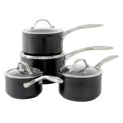 ProCook Professional Ceramic Saucepan Set - 4 Piece with Free Utensils