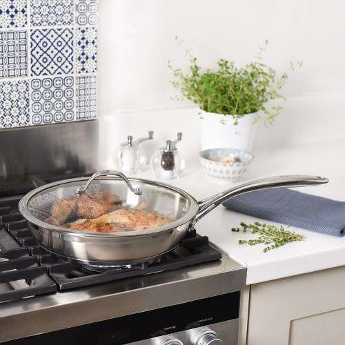 Professional Stainless Steel Frying Pan with Lid Uncoated 28cm