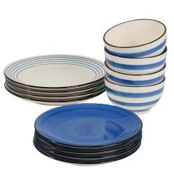 Coastal Stoneware Blue Dinner Set with Cereal Bowls - 12 Piece - 4 Settings