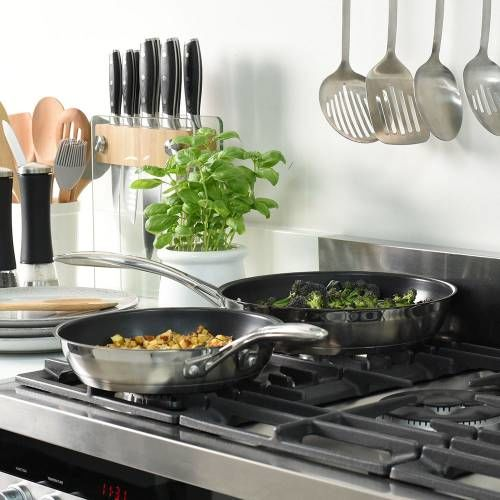 Professional Stainless Steel Frying Pan Set 24 and 28cm