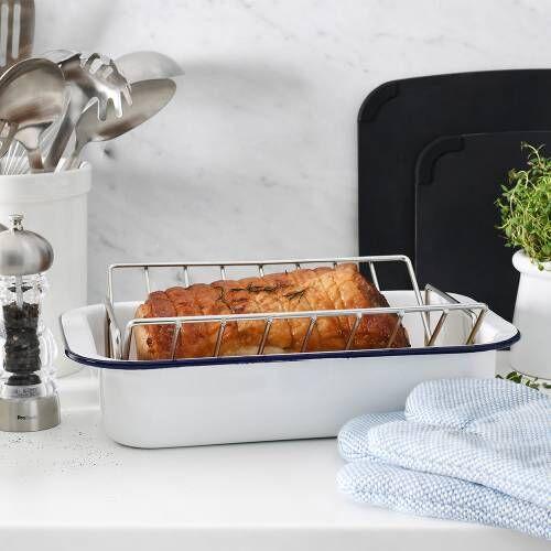ProCook Enamel Bakeware Roasting Tin & Rack 37cm x 24cm x 7.5cm