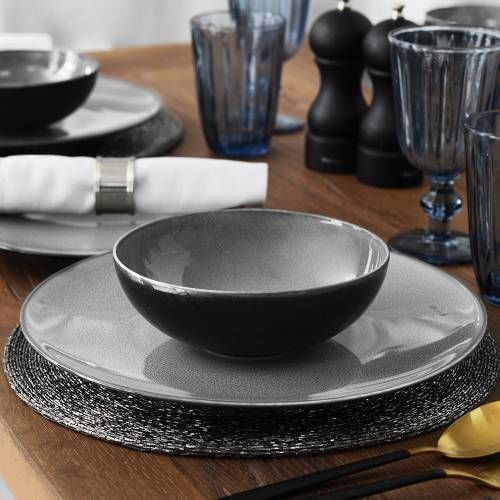 Del Mar Grey Porcelain Dinner Set with Cereal Bowls 12 Piece - 4 Settings