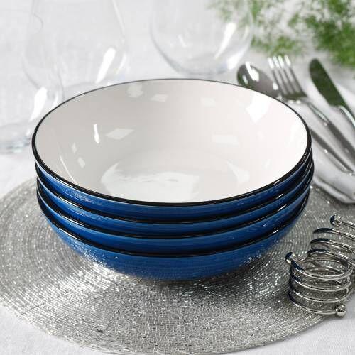 Coastal Stoneware Blue Pasta Bowl Set of 4 - 20cm