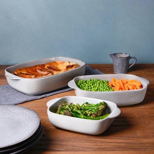 ProCook Stoneware Oven Dishes Set 3 Piece Reactive Grey