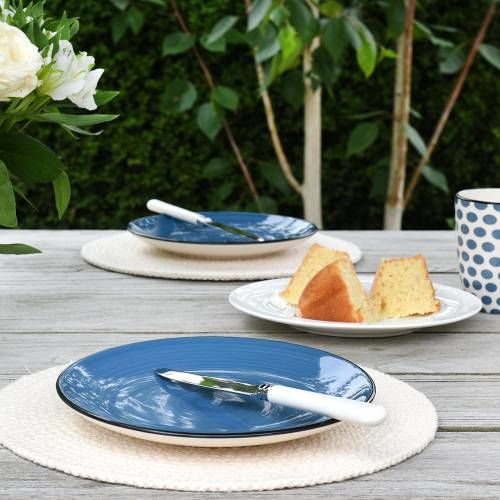 Coastal Stoneware Blue Side Plate Set of 4 - 22cm