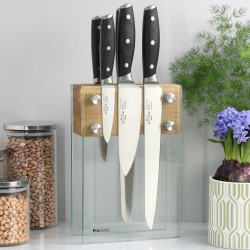 Elite AUS8 Knife Set 5 Piece and Magnetic Glass Block