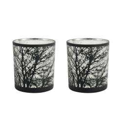 ProCook Etched Silver Tealight Holder Set of 2 - Tree Medium