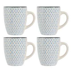 Coastal Stoneware Blue Circle Mug - Set of 4 - 380ml