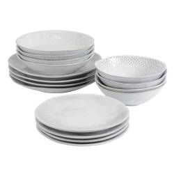 Malmo Dove Grey Stoneware Dinner Set - 16 Piece - 4 Settings