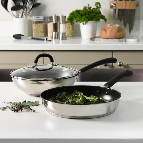 Gourmet Stainless Steel Wok and Frying Pan Set 2 Piece
