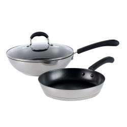 Gourmet Stainless Steel Wok and Frying Pan Set - 2 Piece
