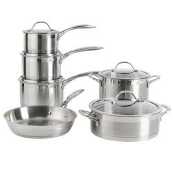Professional Stainless Steel Cookware Set - Uncoated 6 Piece