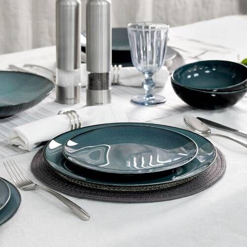 Del Mar Blue Porcelain Dinner Set with Cereal Bowls 12 Piece - 4 Settings