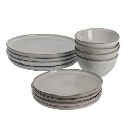 Oslo Rim Stoneware Dinner Set with Cereal Bowls - 12 Piece - 4 Settings