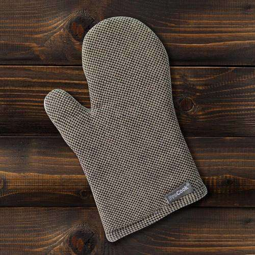 ProCook Single Oven Glove Black and Biscuit Check