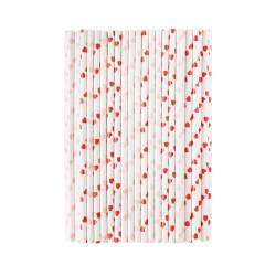Life's a Beach Paper Straws - Hearts 100 Pieces
