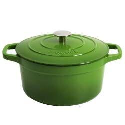 ProCook Cast Iron Casserole - 24cm / 4.7L Round Graduated Green
