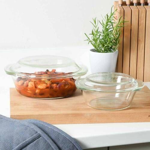 ProCook Glass Ovenware Casserole Dish Set of 2