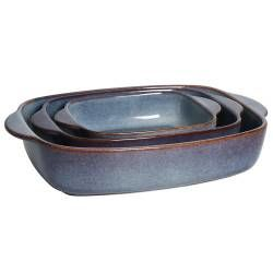 ProCook Stoneware Oven Dishes Set - 3 Piece Reactive Blue