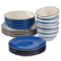 Coastal Stoneware Blue Dinner Set - 16 Piece - 4 Settings